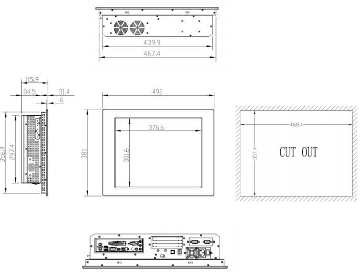 IPPC-1942一体机外观尺寸图